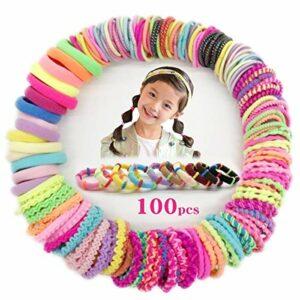 Lot de 100 élastiques à cheveux pour fille Myhozee, 10 styles, multicolores
