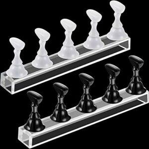 Lot de 2 présentoirs pour faux ongles en acrylique – Support magnétique pour pratique des ongles – Support pour nail art – Outil de manucure (blanc et noir)