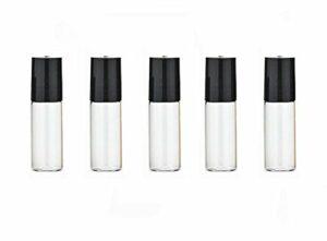 Lot de 6 flacons roll-on en verre transparent de 5 ml avec bille en acier pour parfum, huile essentielle, baume à lèvres, cosmétique, pot avec couvercle noir