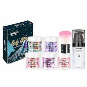 Maquillage Primer Fondation Pinceau 5 Boîte Cosmétique Laser Paillettes Pour Maquillage Corps Cheveux Nail Art Maquillage Primer Paillettes Corps Paillettes Irrégulier DIY Maquillage Des Yeux Ensemble