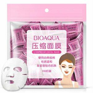 Masque facial compressé, 100 Pcs/Pack Masque facial soins de la peau naturels Masque facial bricolage en soie non tissée comprimée