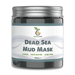 Masque Visage Boue de la Mer Morte 250 g, Naturel et Vegan – Anti-comédogène, points noirs et acné – Soin anti-âge pour peaux sèches et à problèmes – Masque de boue pour visage et corps