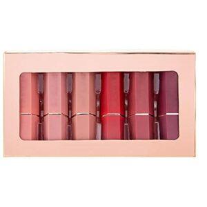 Matte Matte Lipstick Lipstick 6 couleurs Boîte cadeau Coffret imperméable Nu Maquillage 6 pcs