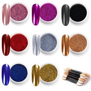 MELLIEX 8 Pièces Paillettes Ongles Effet Miroir Poudre Chrome d'Ongle Accessoires avec Des Bâtons de Fard à Paupières pour Nail Art