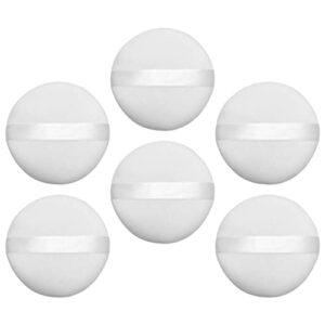 Minkissy 6PCS Lâche Houppette Maquillage Face Powder Puff Avec Ruban pour Compacts Poudre Libre Poudre Pour Le Visage Blanc 10CM
