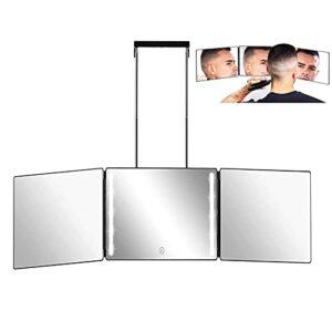 Miroir de maquillage rechargeable avec lumière à 3 voies Triptyque Miroir avec supports Hauteur réglable pour maquillage coiffé Coupe Aseo Miroir de douche Miroir de rasage Miroir suspendu