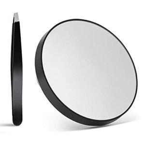 Miroir grossissant x20 – Taille de voyage – Ventouse – Pour maquillage, salle de bain – Noir