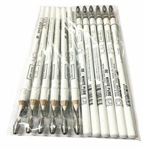 Moi Professional Lot de 12 crayons blancs pour marquage de la peau Esp. Laser 00·White Pure – Long avec taille-crayon M·O·I Professional 800 g