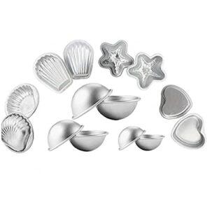 NiceJoy Mouler Bombe pour Le Bain Moisissures DIY Aluminium Coeurs en Alliage Moisissures Coquilles St Jacques Starfishfor pour Les Outils Bain de beauté et santé Bombes