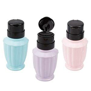 NICENEEDED 3 Pcs Distributeurs de Pompe de Dissolvant de Vernis à Ongles Bouteille en Plastique Vide Pousser pour Maquillage Bouteille Colorée pour Vernis à Ongles et Dissolvant