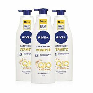 NIVEA Lait Hydratant Fermeté Q10 + Vitamine C Peaux Normales (3 x 250 ml), Lait corps enrichi en Co-Enzyme Q10 & Vitamine C, Lait corporel pour une peau plus ferme