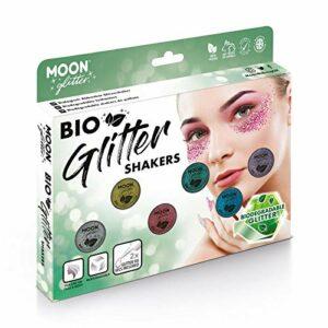 Paillettes biodégradables Eco Glitter Shakers de Moon Glitter – 100% Cosmetic Bio Glitter pour le visage, le corps, les ongles, les cheveux et les lèvres – 5g – Cofrett