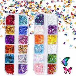 Paillettes de Corps Maquillage de Papillons Paillettes pour Festival Fête Visage Corps Cheveux Et Les Lèvres Ongles Décoration 24 Couleur