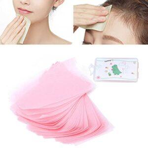Papier buvard à l'huile, emballé individuellement 150 pièces Papier de soie absorbant Pâte primaire pliable + lin résistant à l'humidité avec trous de suspension pour le maquillage
