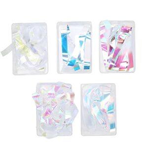 Papier de verre à ongles, bricolage décoration ongles cellophane exquis brillant délicat sûr écologique 5 boîtes pour femmes filles pour rassemblement de rencontres pour fête d'anniversaire