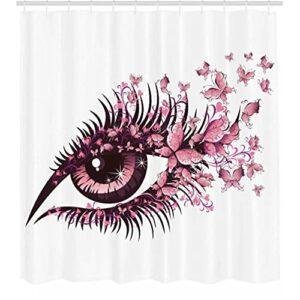 Papillons Rideau de Douche fée Oeil féminin avec Papillons Cils Mascara Stare fête Maquillage Salle de Bain décor Ensemble avec crochets-165cmx180cm