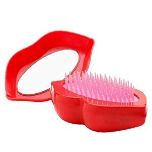 Pinceau de cheveux portatif voyage en forme de lèvre de coiffure peigne cuir chevelu masseur rouge