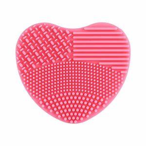 Pinceau de maquillage nettoyant pour brosse de nettoyage, épurateur de lavage en silicone souple, gommage en forme de coeur pour tapis de nettoyage de brosse de maquillage cosmétique(Rose)