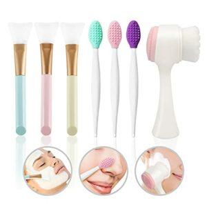 Pinkiou Ensemble de brosses nettoyantes pour le visage, 3pcs Applicateur de masque de boue, 3pcs Brosse de gommage pour les lèvres, 1 pcs Brosse de lavage du visage double face