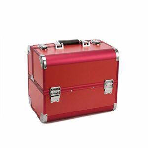 Portable Boîte À Outils De Tatouage Professionnel Portable Beauté Manucure Cils Multicouches De Grande Capacité Cosmétique Cas Tatouage Boîte Spéciale (Rouge)