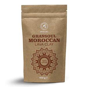 Poudre Argile de Lave Marocaine Ghassoul – 100g – Argile Rhassoul Purifiant Visage et Cheveux – Pure et Naturelle – Rhassoul Argile pour Masques et Gommages – Soin et Beauté du Cheveu