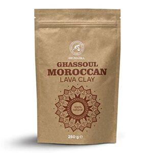 Poudre Argile de Lave Marocaine Rhassoul – 250g – Argile Ghassoul – Pure et Naturelle – Purifiante et Tonifiante pour Visage et Cheveux – Argile Poudre pour Masques et Gommages