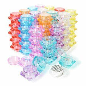 PUDSIRN Lot de 80 pots de cosmétiques vides en plastique en forme de diamant avec 40 pièces de cales pour fard à paupières, ongles, baume à lèvres et crème (8 couleurs)