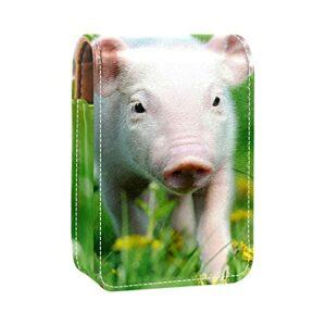 qfkj avec Miroir Étui Porte Rouge à lèvres,Petit Cochon sur l'herbe Verte au Printemps