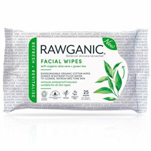 RAWGANIC Lingettes Démaquillantes Bio | Visage, Yeux, Lèvres | Coton Bio Biodégradable | Aloe Vera Thé Vert | Sans parfum (Paquet de 25 lingettes)