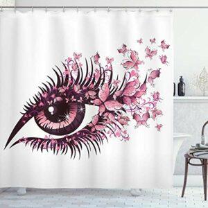Rideau de douche papillons, œil de femme fée avec papillons cils mascara maquillage de fête, ensemble de décor de salle de bain en tissu avec, rose blanc avec 12 crochets en plastique 180x180cm