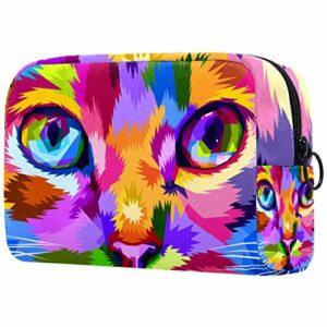 Sac de maquillage portable avec visage de chat à proximité des yeux colorés pour les femmes