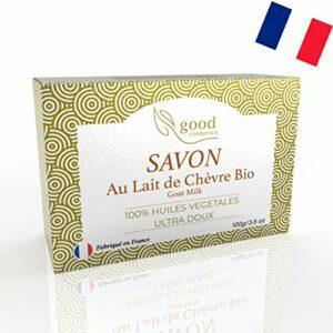 Savon lait de chèvre – ultra doux – fabriqué en France – anti imperfections – traitement efficace contre acnee, eczema, psoriasis pour une peau lisse, douce et lumineuse – soin visage, corp et mains