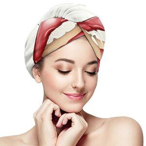 Serviette à cheveux en microfibre – Rouge à lèvres et bouche – Serviette de bain – Séchage rapide – Pour cheveux bouclés – Turban