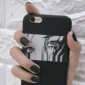 Sethexy Mat Fake Nail Tips Mode Squoval Couleur pure Faux ongles Appuyez sur Nails pour Femmes et Les filles(Noir)