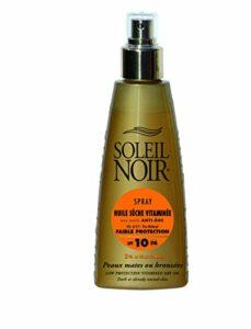 SOLEIL NOIR – Spray Huile Sèche Vitaminée aux actifs Anti-âge 10 Protection Faible – Peaux mates ou bronzées – 150ml