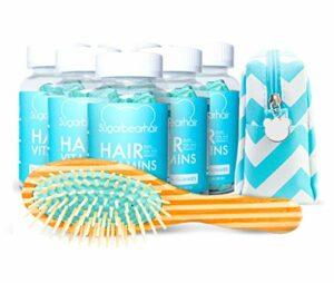 Sugarbearhair Vitamines : 6 mois d'approvisionnement avec brosse à cheveux et trousse de maquillage de luxe