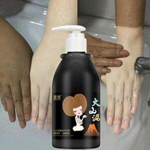 Takkar 8,45 oz Gel douche blanchissant à la boue volcanique, Liquide de nettoyage pour le bain, Gel douche hydratant naturel – Soin éclaircissant, hydratant et raffermissant votre peau