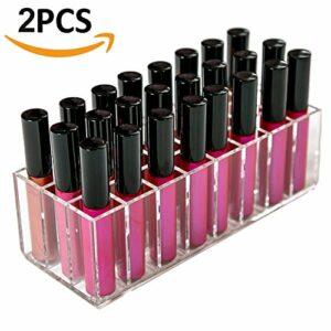 TEERFU Lot de 2 boîtes de rangement en acrylique avec 24 compartiments pour maquillage, gloss à lèvres, pinceaux de maquillage, crayons, mascara, soin de la peau, contour des yeux et des lèvres