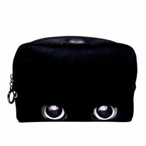 Tizorax Trousse de toilette pour femme Motif yeux de chat Noir