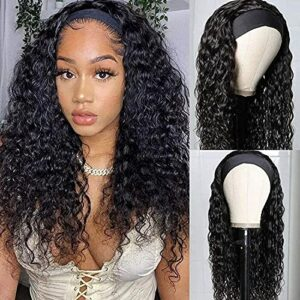 TOOCCI 14″ Headband Water Wig Cap Cheveux Bresilien Perruque Femme Naturelle – Perruque Kinkycurly Bresilienne Meches No Lace