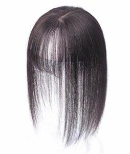 Toppers de Cheveux Humains Clip in, 7x10cm Crown Topper Wiglet Postiches avec Bangs Accessoires de Maquillage