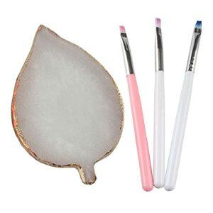 TouGod Lot de 1 planche à ongles en forme de feuille en résine, pour nail art, en résine naturelle, support pour ongles en gel palette des couleurs de dessin et 3 stylos pour photothérapie.