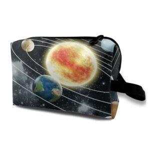 Trousse de Toilette de Voyage Suspendue,Espace Extra-atmosphérique Système Solaire avec Huit planètes éléments de,Sac Organisateur de Maquillage cosmétique et Organisateur de Douche