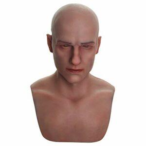 U-CHARMMORE Bell Beauty Perle en silicone avec tête et visage réalistes Maquillage pour Crossdresser Transvestite Halloween Drag Queen – Blanc – Taille Unique