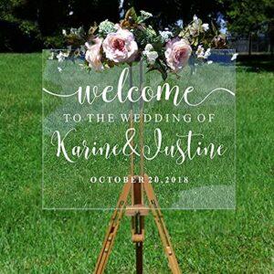Usmnxo Décalque de Bienvenue de Mariage personnalisé Couple nom et Date Miroir décalcomanie Nuptiale Douche Miroir Vinyle décalque DIY69x42cm