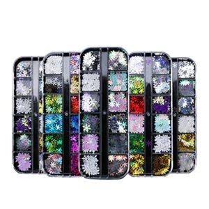 VEILTRON Boîtes 3D Paillettes de Flocon de Neige pour la décoration d'ongles Ensemble de Paillettes Brillant Bricolage Accessoires d'ongles Dessins d'ongles de noël