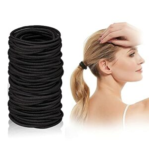 Vincerlo Elastique Cheveux – Lot de 100 Pièces Résistants en Nylon et Caoutchouc 2mm Attaches Cheveux pour Femmes Hommes et Enfants, Noir