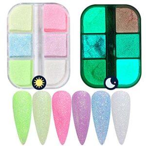 WINBST Poudre à ongles 6 cellules phosphorescente – Brille dans le noir – Poudre à ongles – Pigment fluorescent – Coloré pour le bricolage, le fard à paupières, le brillant à lèvres,
