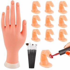 WXJ13 Kit de 10 doigts et 10 brosse à ongles pour pratiquer la manucure pratique mains Doigts Nail Art Pratique Doigts Modèle