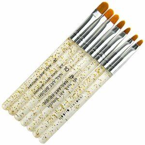 Xiton 7PCS UV Gel Acrylique Pinceau Nail Art Ongles Nail Art Tips Builder Pinceau Ongle Pinceaux Nail Art Ongles Pinceau Stylo Beauté Outils Set